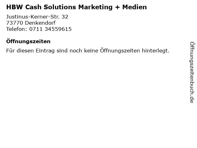HBW Cash Solutions Marketing + Medien in Denkendorf: Adresse und Öffnungszeiten