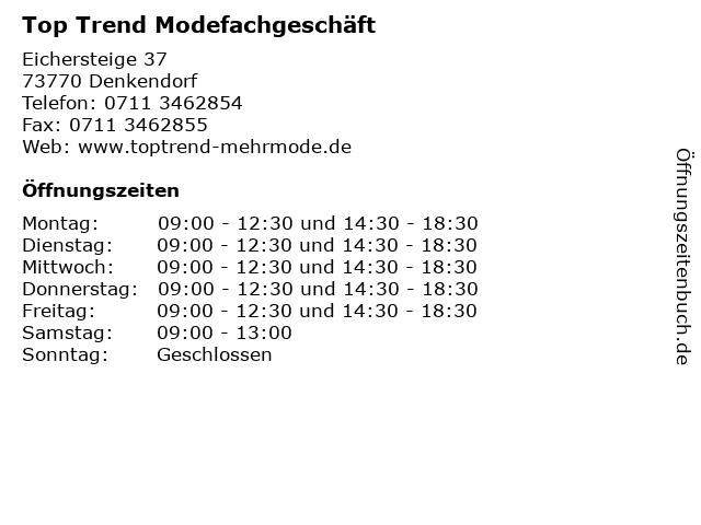 Top Trend Modefachgeschäft in Denkendorf: Adresse und Öffnungszeiten