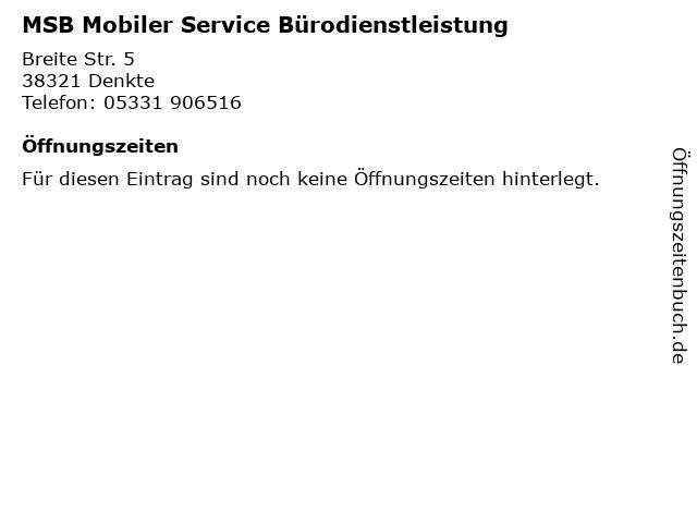 MSB Mobiler Service Bürodienstleistung in Denkte: Adresse und Öffnungszeiten