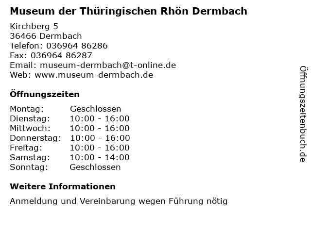 Museum der Thüringischen Rhön Dermbach in Dermbach: Adresse und Öffnungszeiten