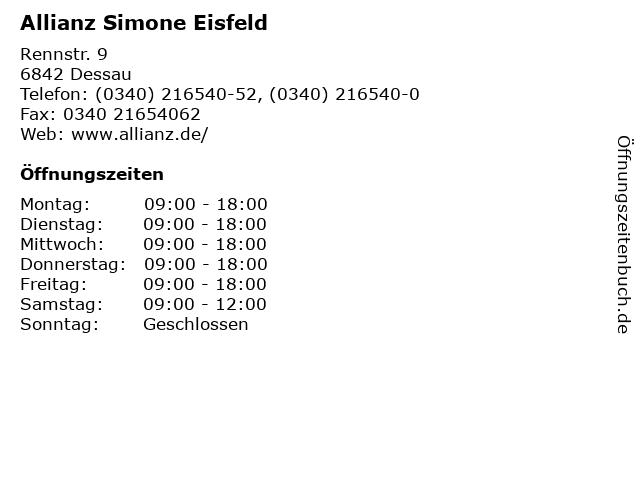 Allianz Simone Eisfeld in Dessau: Adresse und Öffnungszeiten