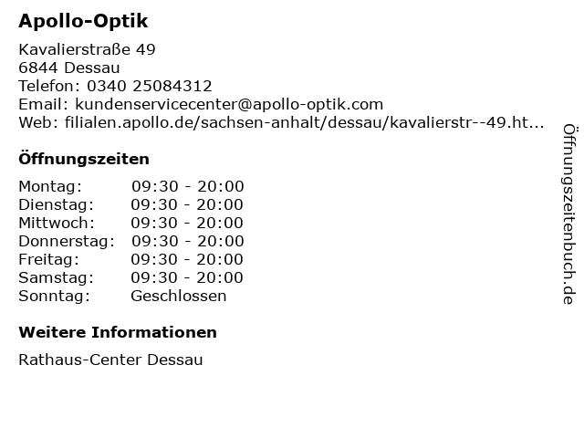 Apollo-Optik Holding GmbH & Co. KG in Dessau: Adresse und Öffnungszeiten