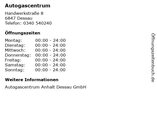Autogascentrum in Dessau: Adresse und Öffnungszeiten