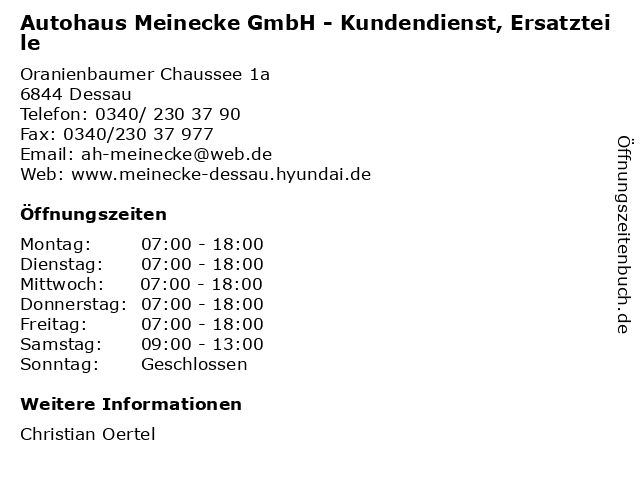 Autohaus Meinecke GmbH - Kundendienst, Ersatzteile in Dessau: Adresse und Öffnungszeiten