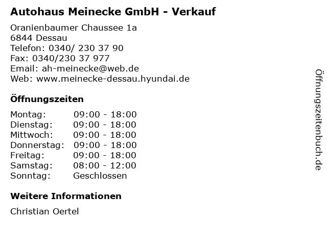 Autohaus Meinecke GmbH - Verkauf in Dessau: Adresse und Öffnungszeiten