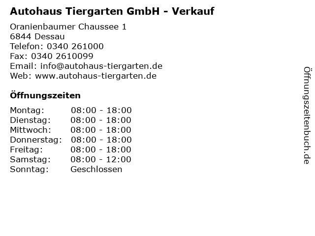 Autohaus Tiergarten GmbH - Verkauf in Dessau: Adresse und Öffnungszeiten