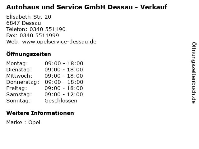 Autohaus und Service GmbH Dessau - Verkauf in Dessau: Adresse und Öffnungszeiten
