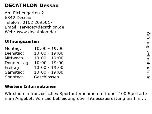 DECATHLON Store Dessau in Dessau-Roßlau: Adresse und Öffnungszeiten