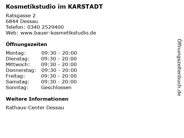 Kosmetikstudio im KARSTADT in Dessau: Adresse und Öffnungszeiten