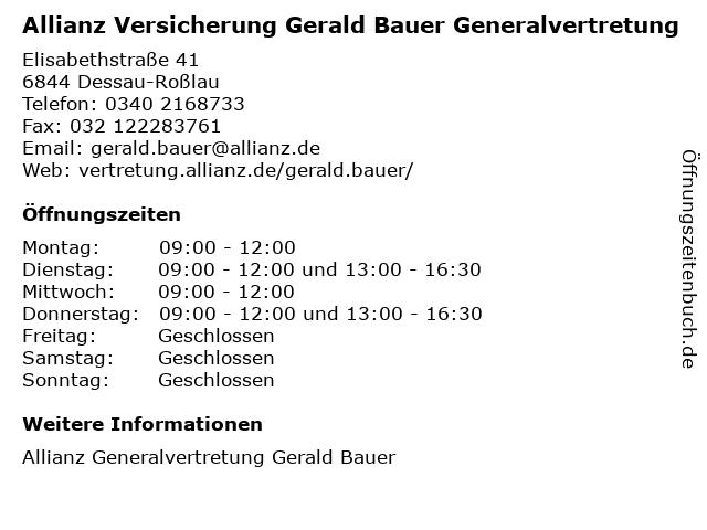 Allianz-Generalvertretung Gerald Bauer in Dessau-Roßlau: Adresse und Öffnungszeiten