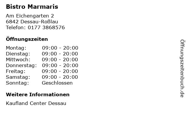 Bistro Marmaris in Dessau-Roßlau: Adresse und Öffnungszeiten