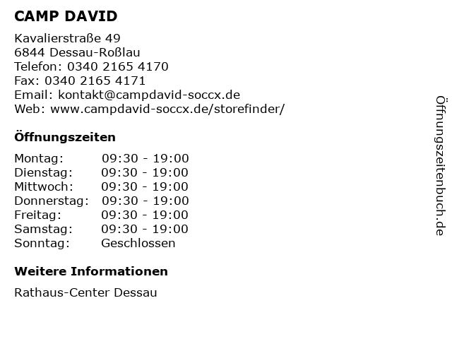 CAMP DAVID in Dessau-Roßlau: Adresse und Öffnungszeiten