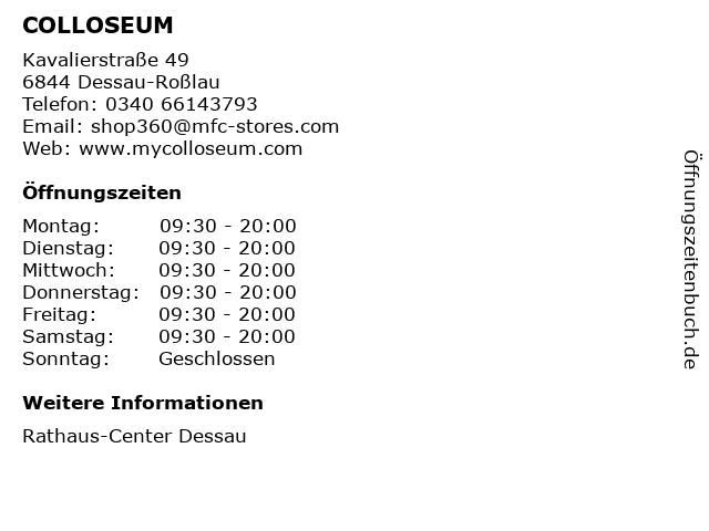 COLLOSEUM in Dessau-Roßlau: Adresse und Öffnungszeiten