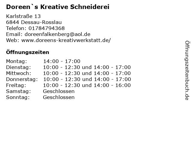 Doreen`s Kreative Schneiderei in Dessau-Rosslau: Adresse und Öffnungszeiten