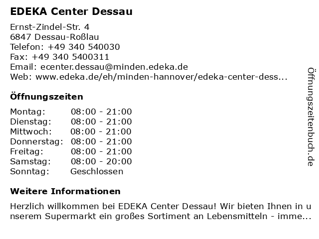EDEKA Center Dessau in Dessau-Roßlau: Adresse und Öffnungszeiten