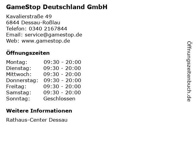 GameStop Deutschland GmbH in Dessau-Roßlau: Adresse und Öffnungszeiten