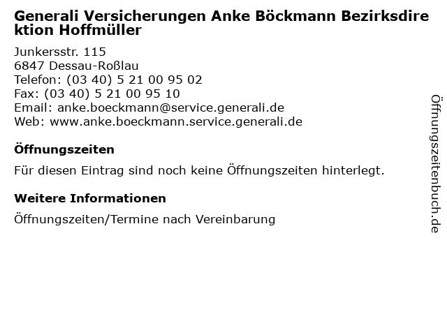 Generali Versicherungen Anke Böckmann Bezirksdirektion Hoffmüller in Dessau-Roßlau: Adresse und Öffnungszeiten