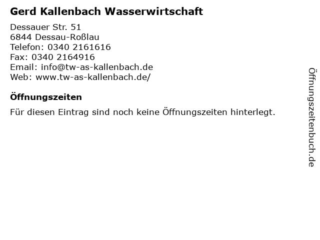 Gerd Kallenbach Wasserwirtschaft in Dessau-Roßlau: Adresse und Öffnungszeiten