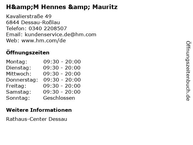 H&M Hennes & Mauritz in Dessau-Roßlau: Adresse und Öffnungszeiten