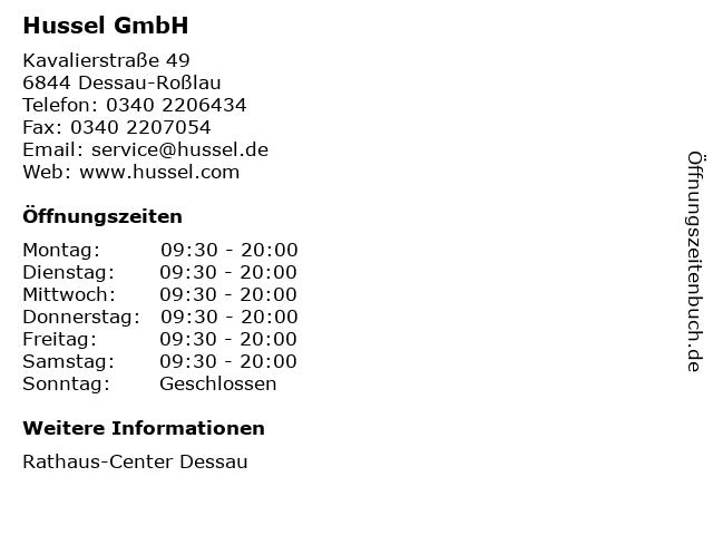 Hussel GmbH in Dessau-Roßlau: Adresse und Öffnungszeiten