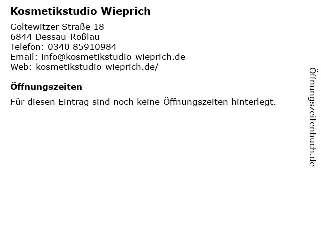 Kosmetikstudio Wieprich in Dessau-Roßlau: Adresse und Öffnungszeiten