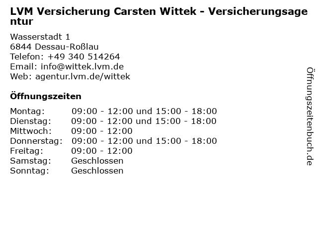 LVM Versicherung Carsten Wittek - Versicherungsagentur in Dessau-Roßlau: Adresse und Öffnungszeiten