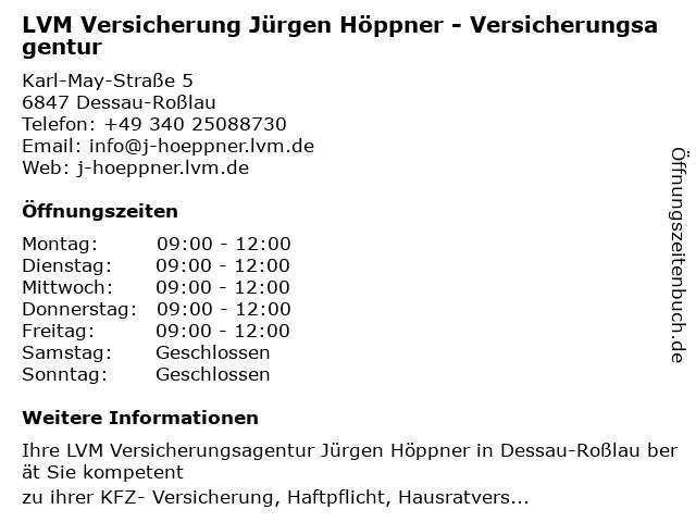 LVM Versicherung Jürgen Höppner - Versicherungsagentur in Dessau-Roßlau: Adresse und Öffnungszeiten