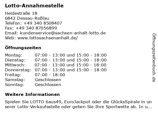 Lotto-Annahmestelle in Dessau-Roßlau: Adresse und Öffnungszeiten
