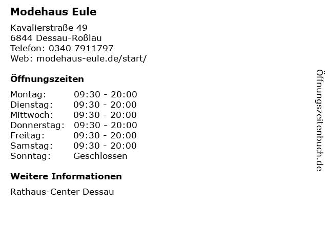 Modehaus Eule in Dessau-Roßlau: Adresse und Öffnungszeiten