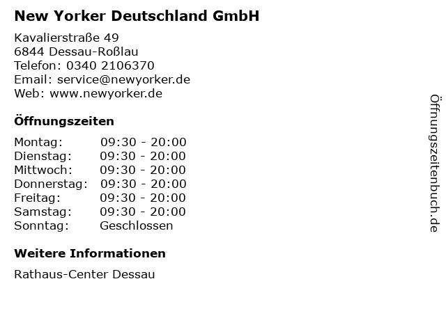 New Yorker Deutschland GmbH in Dessau-Roßlau: Adresse und Öffnungszeiten