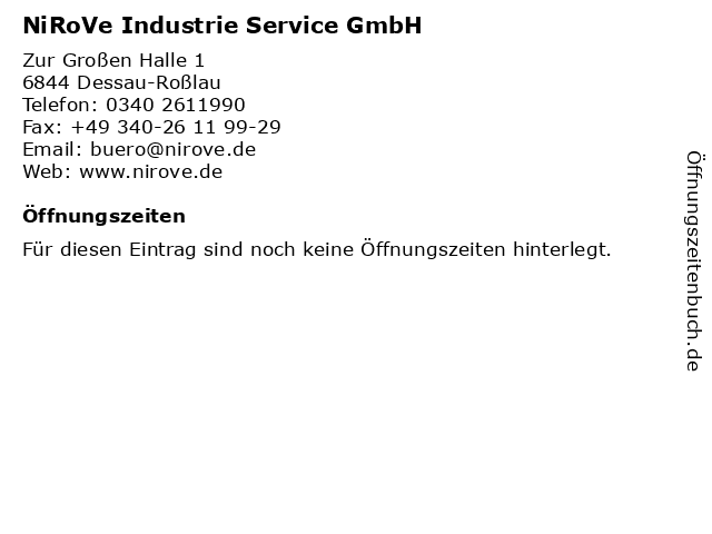 NiRoVe Industrie Service GmbH in Dessau-Roßlau: Adresse und Öffnungszeiten