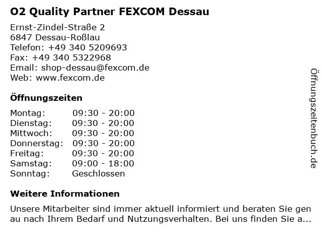 O2 Quality Partner FEXCOM Dessau in Dessau-Roßlau: Adresse und Öffnungszeiten