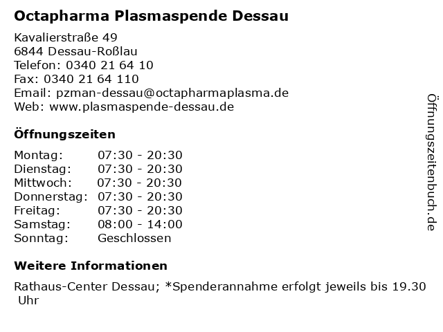 Octapharma Plasmaspende Dessau in Dessau-Roßlau: Adresse und Öffnungszeiten