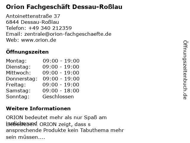 Orion Fachgeschäft Dessau-Roßlau in Dessau-Roßlau: Adresse und Öffnungszeiten