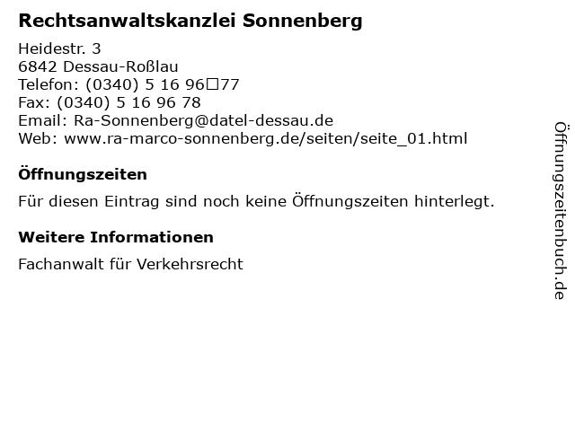 Rechtsanwaltskanzlei Sonnenberg in Dessau-Roßlau: Adresse und Öffnungszeiten
