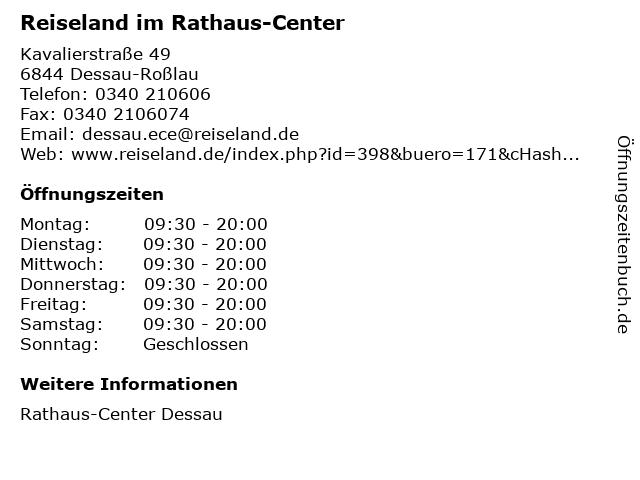 Reiseland im Rathaus-Center in Dessau-Roßlau: Adresse und Öffnungszeiten