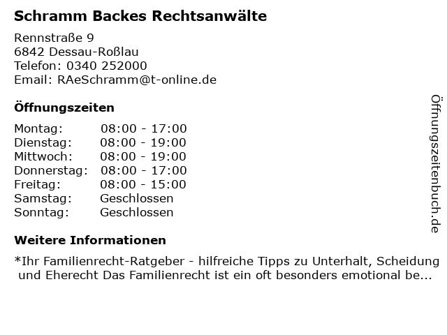 Schramm Backes Rechtsanwälte - Bürozeiten in Dessau-Roßlau: Adresse und Öffnungszeiten