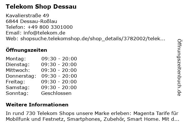 Telekom Shop Dessau in Dessau-Roßlau: Adresse und Öffnungszeiten