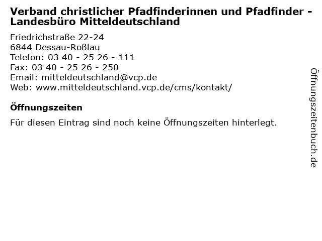 Verband christlicher Pfadfinderinnen und Pfadfinder - Landesbüro Mitteldeutschland in Dessau-Roßlau: Adresse und Öffnungszeiten