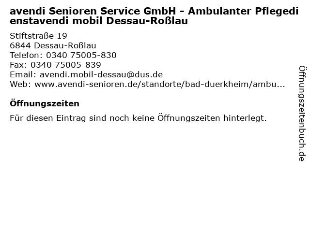 avendi Senioren Service GmbH - Ambulanter Pflegedienstavendi mobil Dessau-Roßlau in Dessau-Roßlau: Adresse und Öffnungszeiten