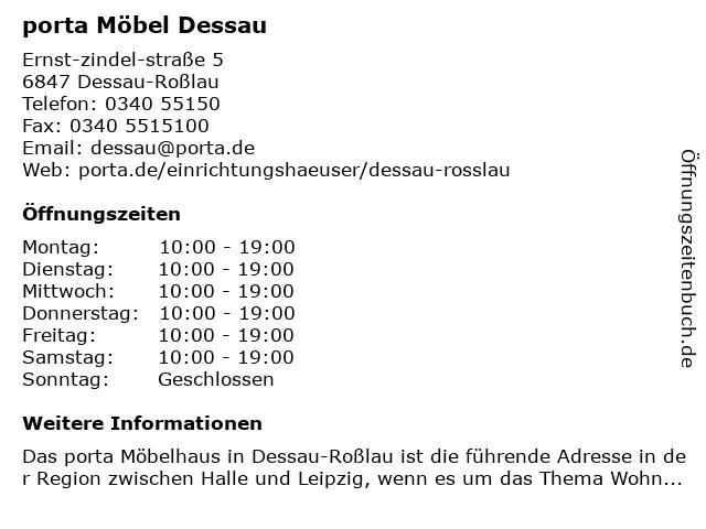 ᐅ öffnungszeiten Porta Möbel Ernst Zindel Straße 5 In Dessau Roßlau