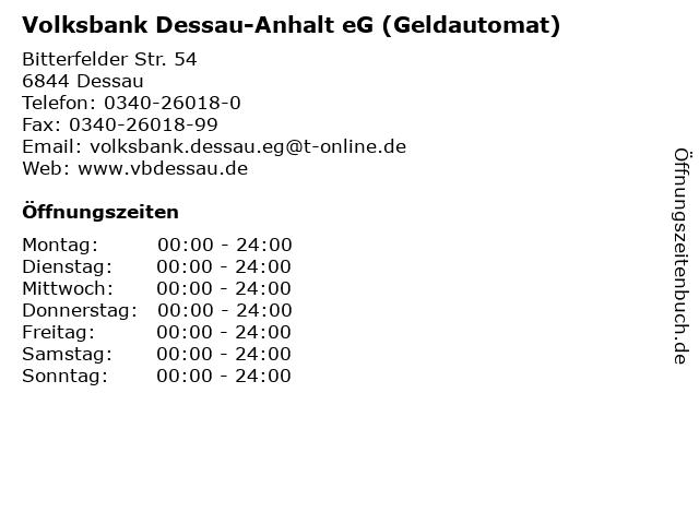 Volksbank Dessau-Anhalt eG (Geldautomat) in Dessau: Adresse und Öffnungszeiten