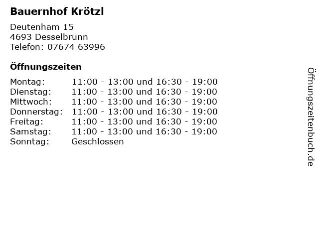 Bauernhof Krötzl in Desselbrunn: Adresse und Öffnungszeiten