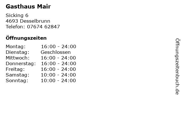 Gasthaus Mair in Desselbrunn: Adresse und Öffnungszeiten