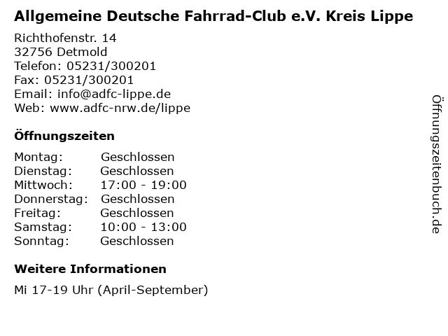 Allgemeine Deutsche Fahrrad-Club e.V. Kreis Lippe in Detmold: Adresse und Öffnungszeiten