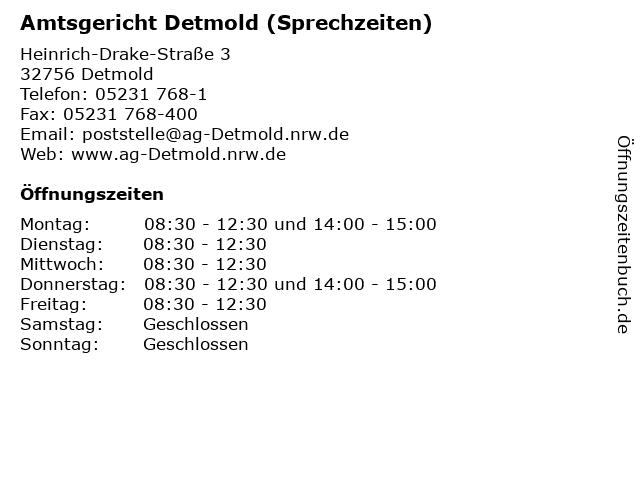 Amtsgericht Detmold (Sprechzeiten) in Detmold: Adresse und Öffnungszeiten