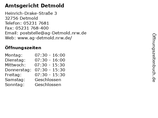 Amtsgericht Detmold in Detmold: Adresse und Öffnungszeiten