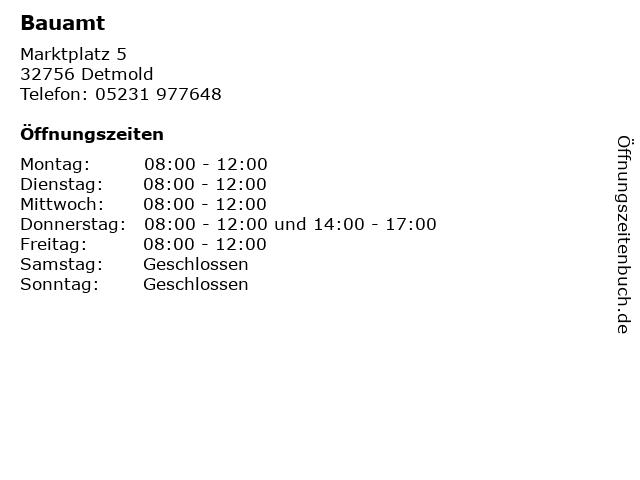 Bauamt in Detmold: Adresse und Öffnungszeiten