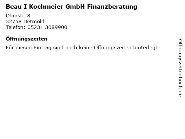 Beau I Kochmeier GmbH Finanzberatung in Detmold: Adresse und Öffnungszeiten