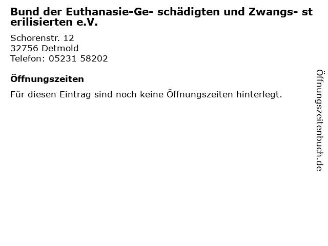 Bund der Euthanasie-Ge- schädigten und Zwangs- sterilisierten e.V. in Detmold: Adresse und Öffnungszeiten